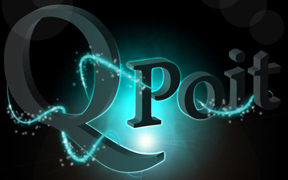 Glowing and sparkling intense light 3d logo