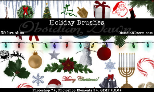 Holiday Christmas Photoshop & GIMP Brushes
