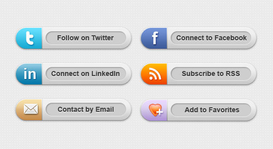 Classy Social Media Buttons Free PSD files Download
