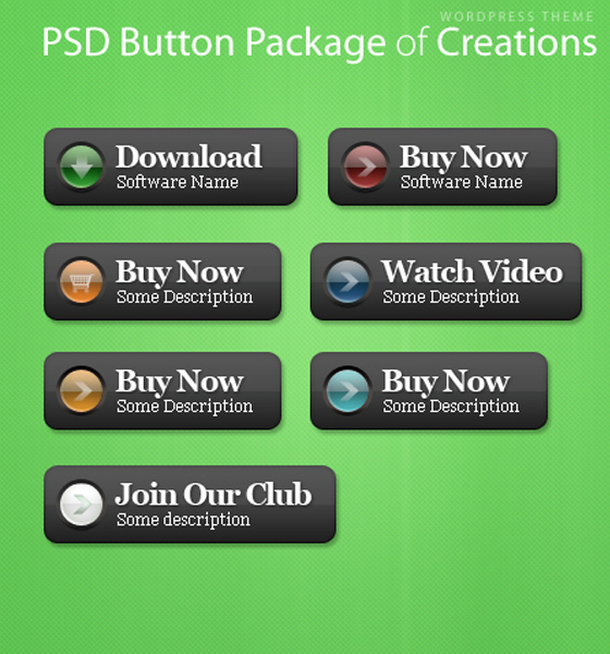 Creations PSD Buttons Free PSD files Download