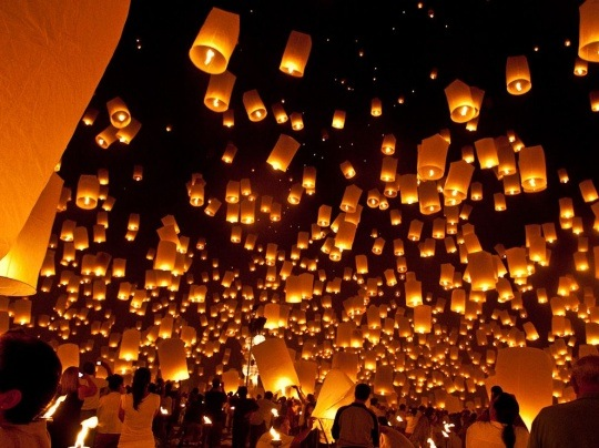 Floating Lanterns, Thailand by Patrice Carlton