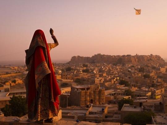 Girl With Kite, India by Simon Christen
