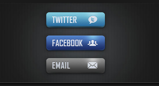 Social Media and Email Buttons Free PSD files Download