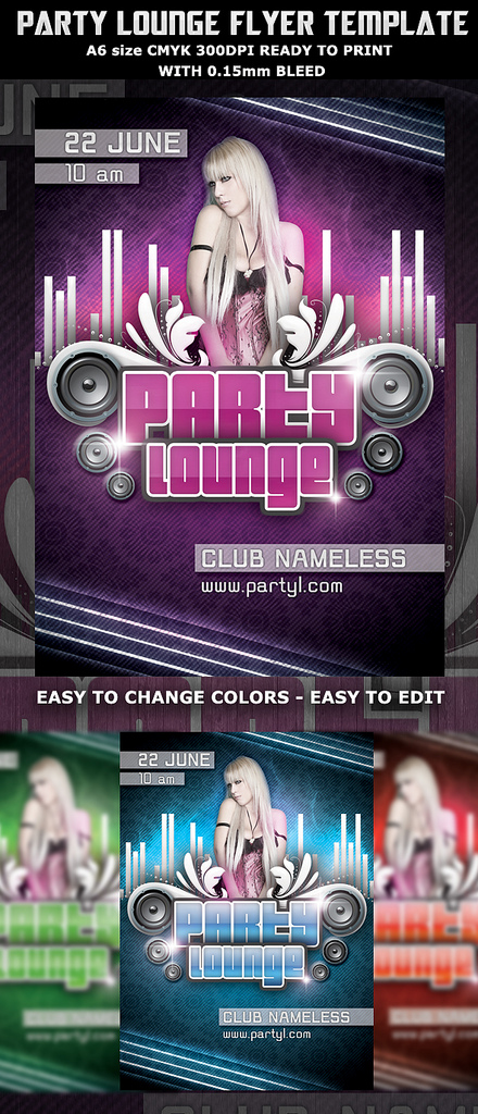 Lounge Party Flyers Design Templates