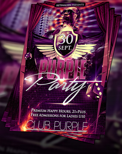 Purple Party Flyers Design Templates