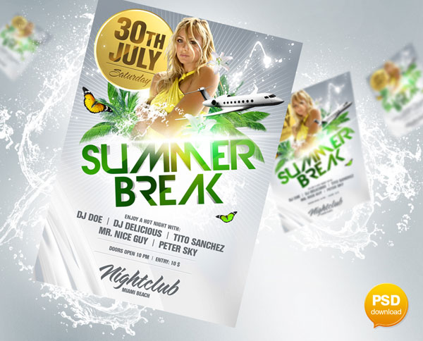 Summer Break Flyer PSD Party Flyers Design Templates