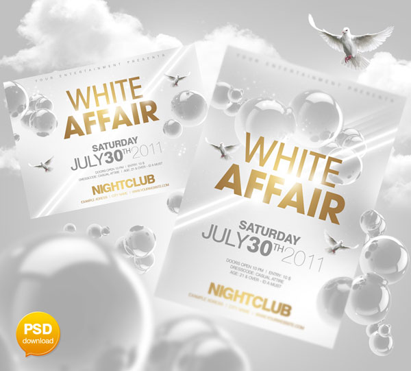 White Affair Flyer PSD Party Flyers Design Templates