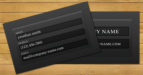 Login Form Business Card