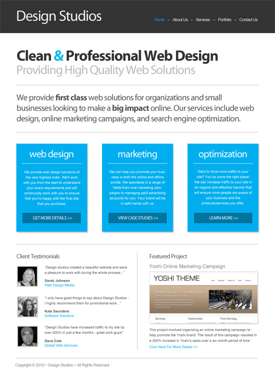 PSD HTML Conversion Code a clean business website design