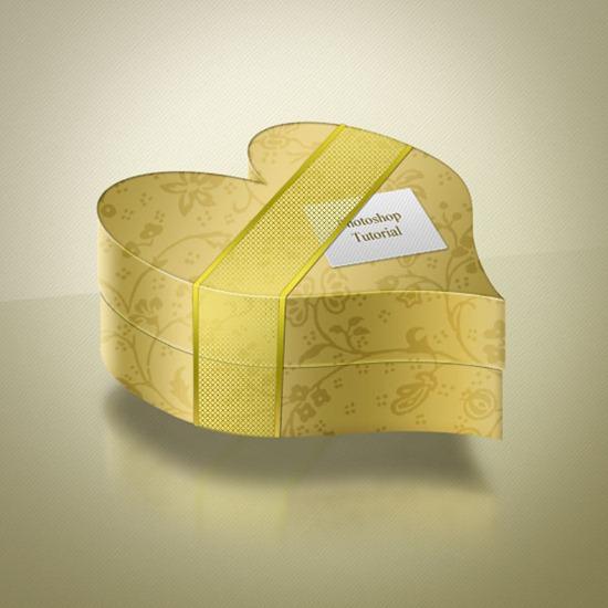 Create a Golden Heart-Shaped Box