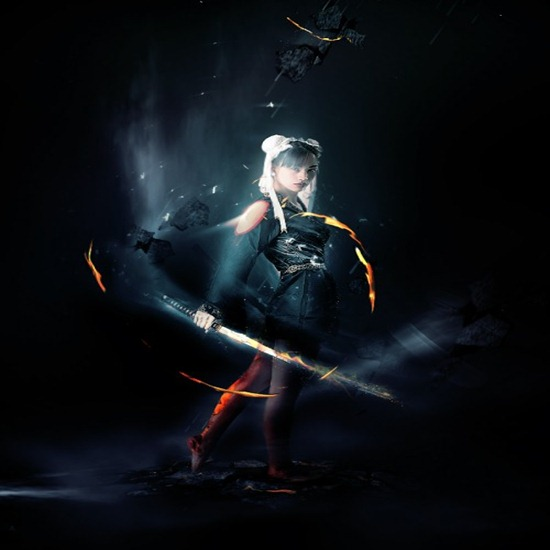 Design an Abstract Style Sword Warrior with Fiery Effect in Photoshop