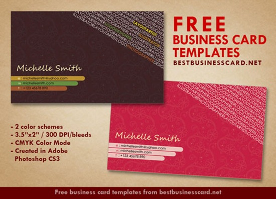 Artist Business Card Templates in Hot Pink and Brown