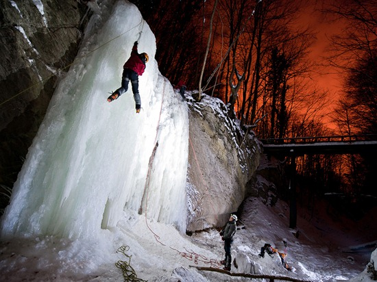 The long retention of low temperature favored the icing of small Sopot waterfall on Medvednica mountain. The red sky comes from city lights of nearby Zagreb. Sopot waterfall is the only one in the area, therefore alpinists from Zagreb use every chance for climbing it and staying in shape.
