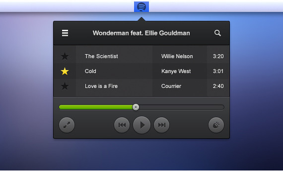 Spotify Audio Player Menu Bar Mockup