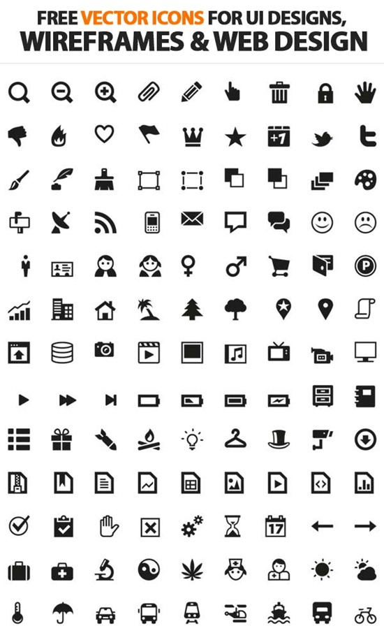 Free Vector Icons For UI, Wireframes and Web Design