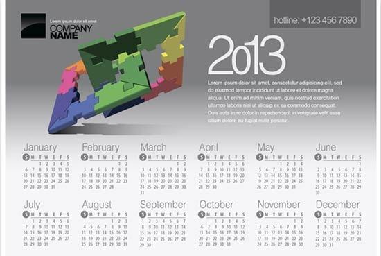 30 Free and Premium 2013 Calendar PSD Vector Templates – Calendar Sample Design