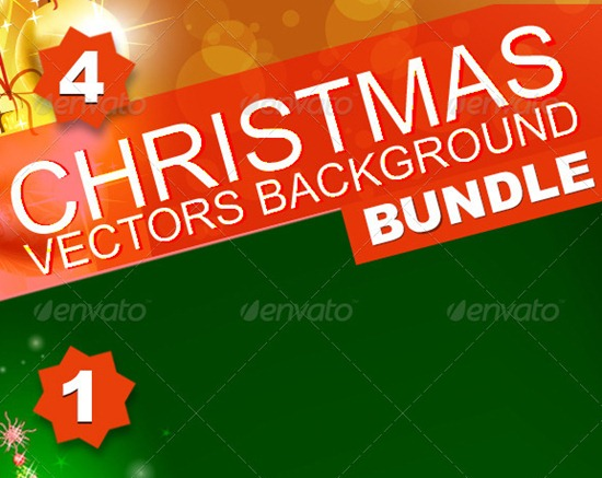 4 High Quality Christmas vector Background illustrations