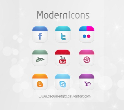 Modern Icons Set Social Icons FREE PSD