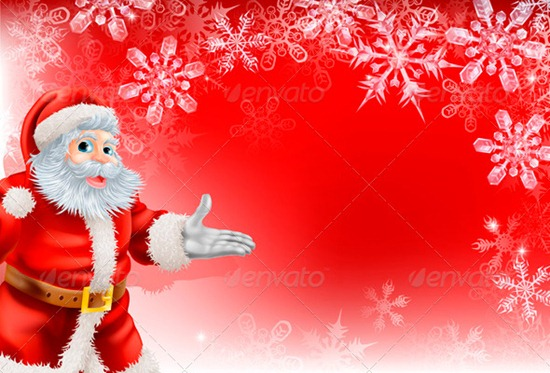 Red Santa Christmas Snowflake background