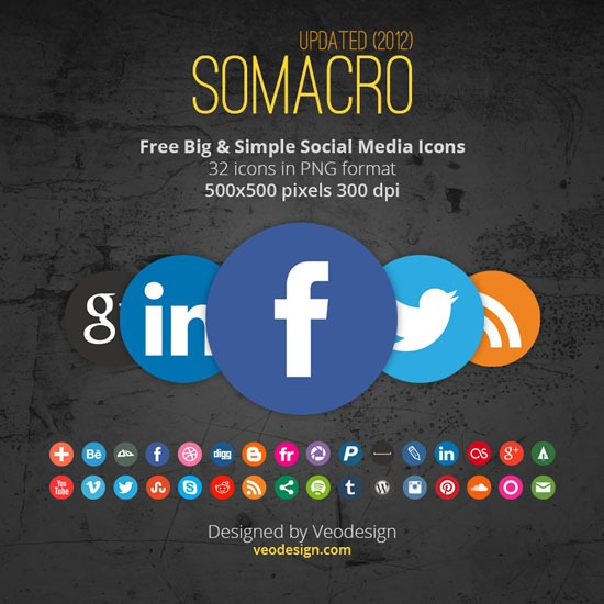 Somacro: 32 300DPI Social Media Icons
