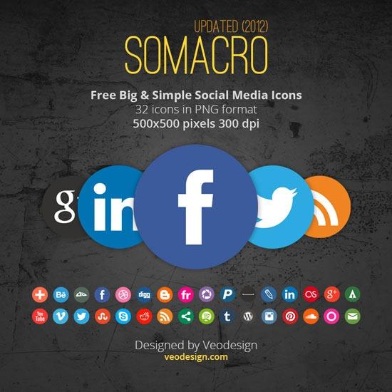 Somacro: 32 300DPI Social Media Icons