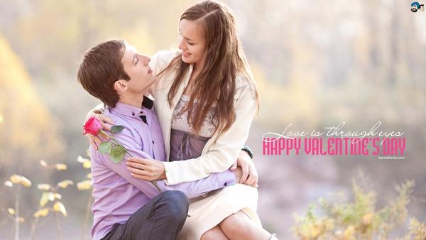 Love is Through Eyes Valentine Day Wallpaper