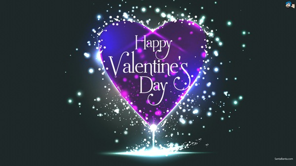 Valentine Day Purple Heart Wallpaper