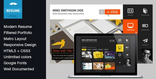 Flat Resume - Virtual Business Card HTML