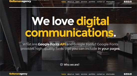 Goltsman Agency – One Page Responsive Template