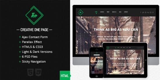 Teo – Responsive Parallax Single Page Portfolio