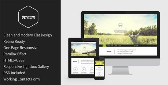 Vernum – Responsive One Page Parallax Template