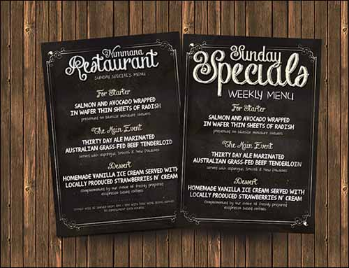 chalkboard menu design templates free