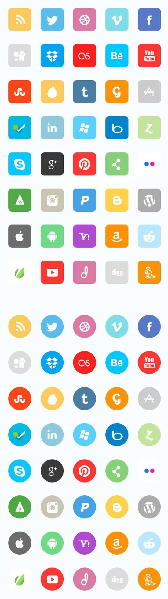 Premium-Flat-Social-Icon-Set