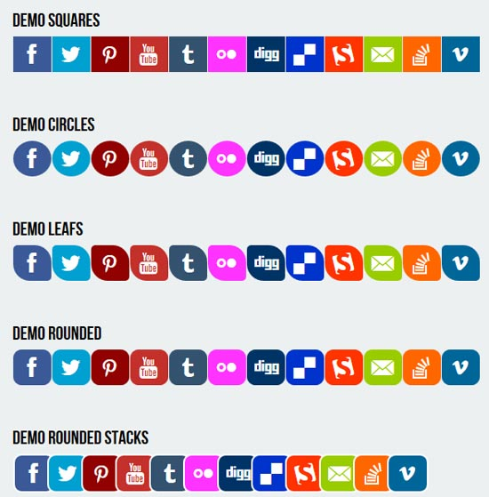 Pure-CSS3-Responsive-Social-Media-Flat-Icons
