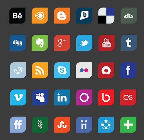 Leaf Flat Social Media Icons