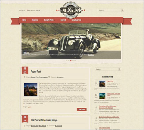 retropress retro wordpress theme